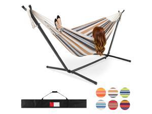 Best Choice Products 2-Person Brazilian-Style Cotton Double Hammock Bed w/ Carrying Bag, Steel Stand, Desert Stripes