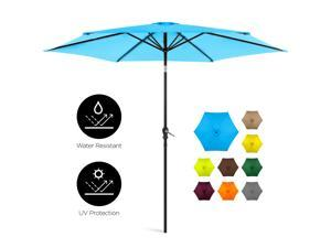 Best Choice Products 10ft Outdoor Steel Market Patio Umbrella w/ Crank, Tilt Push Button, 6 Ribs, Blue