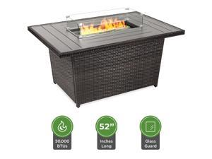 Best Choice Products 52in Outdoor Wicker Propane Fire Pit Table 50,000 BTU w/ Glass Wind Guard, Tank Holder, Cover -Gray