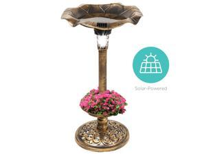 Best Choice Products Solar Lighted Pedestal Bird Bath Fountain w/ Planter, Integrated Panel
