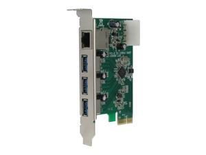 SEDNA - PCIE USB 3.0 3 Port Adapter Card with 10/100/1000 Mbps Ethernet Port