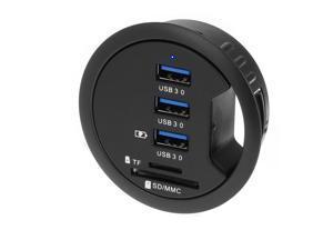 "SEDNA - 2.5"" Grommet Hole - In Desk - USB 3.1 Gen I 3 Port Hub/ BC 1.2 USB Charger with SD Card Reader"
