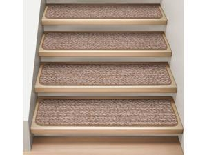Set of 15 Attachable Indoor Carpet Stair Treads - Praline Brown  - 8 In. X 30 In.