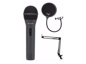 Samson Q2U Black Handheld Dynamic USB Microphone with Boom Arm and Pop Filter