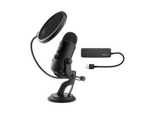 Blue Yeti Microphone (Blackout) with Knox Gear Pop Filter and 3.0 4 Port USB Hub
