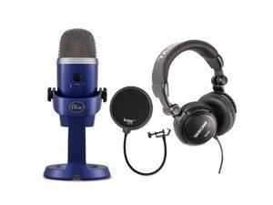 Blue Yeti Nano USB Mic (Vivid Blue) with Headphones and Knox Gear Pop Filter