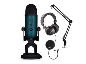 Blue Microphones Yeti Teal USB Mic with Knox Boom Arm, Pop Filter and Headphones