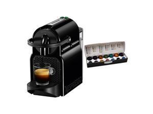 Nespresso Inissia Espresso Maker (Black) and Coffee Capsules Pods Bundle