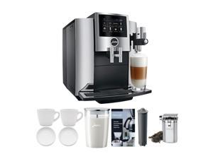 JURA S8 Automatic Coffee Machine (Chrome) with Milk Container Bundle