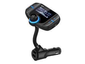 Bluetooth Wireless In-Car FM Transmitter USB Car Fast Charger with 1.65 Inch Large Screen