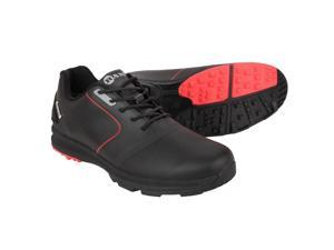 Ram Golf Player Mens Waterproof Golf Shoes - Black / Red 11