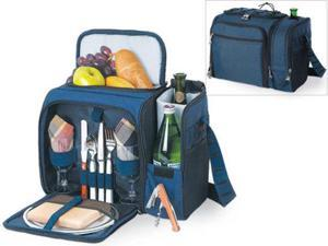 Picnic Time Malibu Insulated Cooler Picnic Tote, Service for 2 in Navy Blue