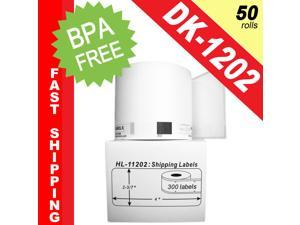 "BROTHER-Compatible DK-1202 Shipping Labels (2-3/7"" x 4""; 62mm*100mm) -- BPA Free! (50 Rolls; 300 Labels per Roll)"
