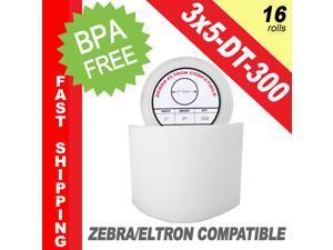 "Zebra/Eltron-Compatible 3 x 5 Labels (3"" x 5"") -- BPA Free! (16 Rolls; 300 Labels per Roll)"