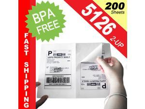 "(200 Sheets; 400 Labels), Same Size as Avery© 5126, 2-UP, Half Sheet Internet Postage/Shipping Labels (5-1/2"" x 8-1/2"") -- BPA Free!"