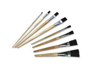 Long Handle Easel Brush Size 4 Natural Bristle Flat 12/Pack