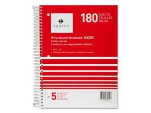 "Notebooks,5 Subject,10-1/2""x8"",College Ruled,180 Sht,AST"