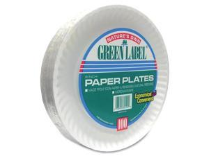 """Paper Plates, Green Label, 9"""" Plate, 1200/CT, White"""