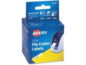 Avery Thermal Printer File Folder Labels 1/3 Cut White 130/Roll 2 Rolls 4155