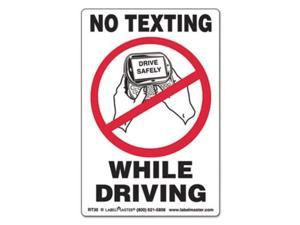 LabelMaster RT30 Self-Adhesive Label, 6 1/2 X 4 1/2, No Texting While Driving, 500/Roll