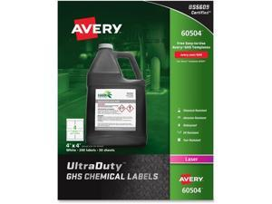 "Avery; UltraDuty GHS Chemical Labels - Laser - Permanent Adhesive - 4"" Width x 4"" Length - Square - Laser - White -"