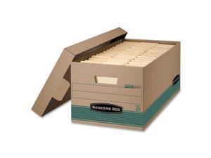 Fellowes 1270101 Stor/File Extra Strength Storage Box, Letter, Lift-Off Lid, Kft/Green, 12/Carton