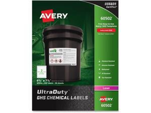 "Avery; UltraDuty GHS Chemical Labels - Laser - Permanent Adhesive - 7 3/4"" Width x 4 3/4"" Length - Rectangle - Laser"