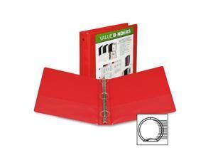 "Samsill View Binder Round Ring 1"" Capacity 11""x8-1/2"" Red 18533"
