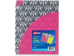 Avery AVE47715 FOLDER,CORNRLCK,4PKT,DAMASK, COLOR: MULTI - 47715