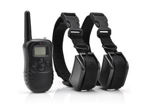 Rechargeable Waterproof Dog Pet Training Collar Shock Vibrate LCD Remote for 2 Dogs 300m 100LV