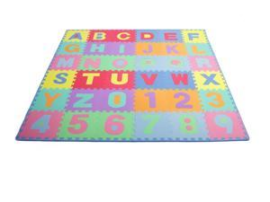 """Prosource Fit Kids Foam Puzzle Floor Play Mat with Alphabet Letters & Numbers 36 Tiles (12""""x12"""")  and 24 Borders"""