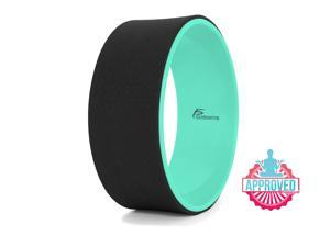 """Prosource Fit Yoga Wheel 12"""" for Stretching, Comfortable Support for Yoga Poses and Backbends, Improving Flexibility and Balance, Black/Green"""