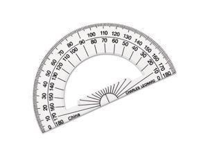 """Charles Leonard Open Center Protractor Plastic 4"""" Ruler Edge Clear 77104"""