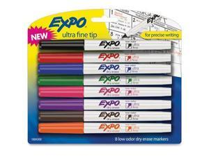 EXPO 1884309 Low-Odor Dry-Erase Marker, Ultra Fine Point, Assorted, 8 per Set