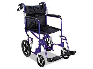 Medline Excel Deluxe Aluminum Transport Wheelchair 19w x 16d 300lb Cap