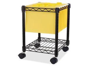 """Lorell Compact Mobile Wire Filling Cart - 4 Casters - 15.5"""" Width x 14"""" Depth x 19.5"""" Height - Metal Frame - Black  LLR6"""