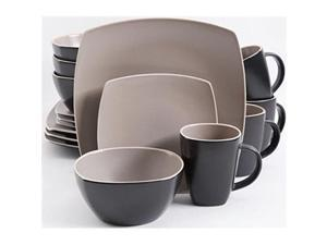 Gibson 94854.16 Soho Lounge 16 Piece Dinnerware Set, Taupe/Black