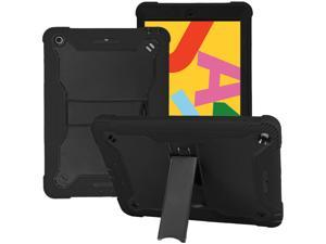 KIQ iPad 10.2 8 / 7 Case, Heavy Duty Impact/Drop Protection Tempered Glass Screen Protector Guardian Case for Apple iPad 10.2-inch 7th 8th Gen [Black]