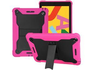 KIQ iPad 10.2 8 / 7 Case, Heavy Duty Impact/Drop Protection Tempered Glass Screen Protector Guardian Case for Apple iPad 10.2-inch 7th 8th Gen [Hot Pink]