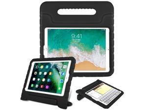 KIQ Kids Case for iPad 6th Gen, EVA Shockproof Bumper Impact Resistant Hard Cover Stand Foam Case for Apple iPad 9.7 2018 (6th Generation) (Black)