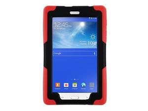KIQ Heavy Duty Military Armor Case, Tablet Cover, Built-in Kickstand, cut-outs for camera and charging ports For Samsung Galaxy Tab E 7.0 Lite, Galaxy Tab 3 7.0 Lite (Red)
