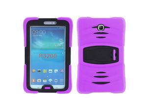 KIQ Heavy Duty Military Armor Case, Tablet Cover, Built-in Kickstand, cut-outs for camera and charging ports For Samsung Galaxy Tab 3 7.0 P3200 (Purple)