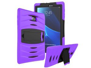 KIQ Heavy Duty Military Armor Case, Tablet Cover, Built-in Kickstand, cut-outs for camera and charging ports For Samsung Galaxy Tab E 9.6 SM-T560 (Purple)