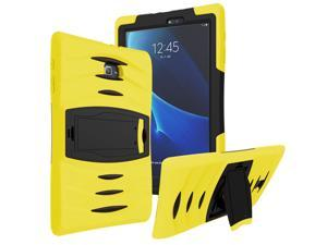 KIQ Heavy Duty Military Armor Case, Tablet Cover, Built-in Kickstand, cut-outs for camera and charging ports For Samsung Galaxy Tab E 9.6 SM-T560 (Yellow)