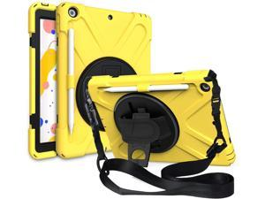 iPad 7 8 10.2 Gen Case, Heavy Duty Shield Stand Carrying Handstrap Shoulder Sling Protection Cover Tempered Glass Screen Protector For Apple iPad 10.2-inch 7th 8th Gen (Yellow)