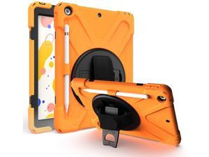 iPad 7 8 10.2 Gen Case, Heavy Duty Shield Stand Carrying Handstrap Shoulder Sling Protection Cover Tempered Glass Screen Protector For Apple iPad 10.2-inch 7th 8th Gen (Orange)