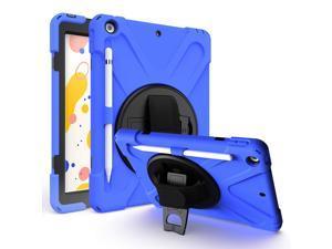 iPad 10.2 Case 7th 8th Gen 2019/2020, Heavy Duty, Kickstand, Hand Strap, Tempered Glass Screen Protector, Shoulderstrap Sling For Apple iPad 7 / iPad 8 Generation [Dark Blue]