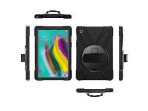 KIQ Heavy Duty Military Durability Shield Case, Tablet Cover, Kickstand, Shoulder Strap, Kickstand,, Palmstrap, Dual-Layer Protection For Samsung Galaxy Tab S5e 10.5 (2019) SM-T720 / SM-T725 (Black)