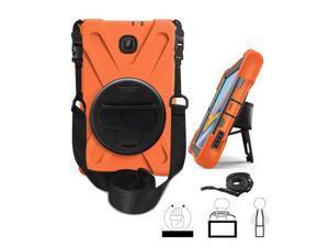 KIQ Heavy Duty Military Durability Shield Case, Tablet Cover, Kickstand, Shoulder Strap, Kickstand,, Palmstrap, Dual-Layer Protection For Samsung Galaxy Tab A 8.0 SM-T387 (2018) (Orange)