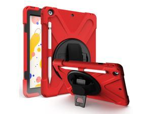 iPad 10.2 Case 7th 8th Gen 2019/2020, Heavy Duty, Kickstand, Hand Strap, Tempered Glass Screen Protector, Shoulderstrap Sling For Apple iPad 7 / iPad 8 Generation [Red]